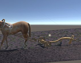 Horse Plows Animated 3D model game-ready