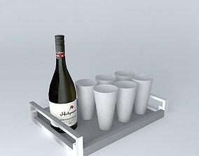 3D garnish bar bottles wine wine tray