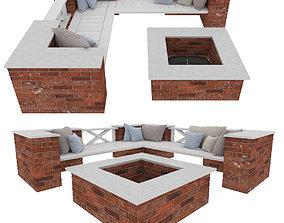 3D model Garden bricks bench