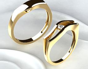 Wedding Golden Rings engagement 3D printable model