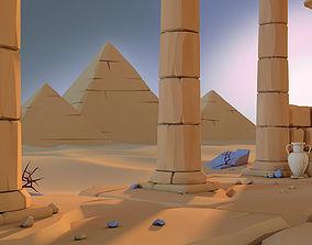3D model Low Poly Desert scene Pack