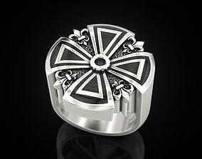 Cross ring heraldic lily with enamel 3D print model