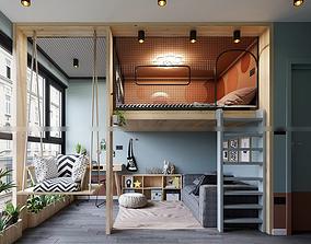 Child bedroom and studyroom modern 3D model