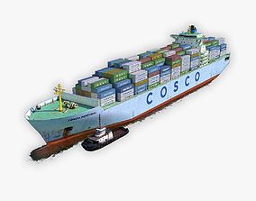 3D model Cargo Ship COSCO and Tugboat