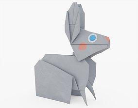 Origami Rabbit 3D model game-ready