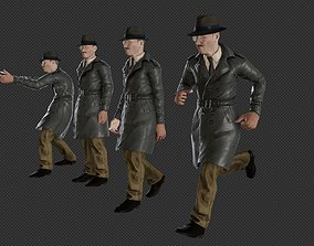 animated Realistic Detective Officer character rigged 3d 2