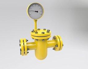 Gas pipeline meter guage 3D model