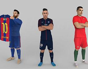 Messi Ronaldo Neymar pack ready for full color 3D 1