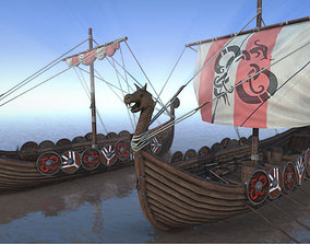 Game Ready Medieval Viking Ship Pack 3D asset