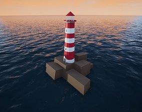 Three lighthouses 3D asset