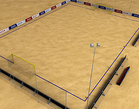 Beach soccer stadium field low poly 3D model