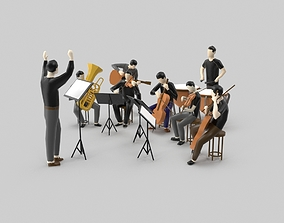 Low Poly People Orchestra Music Player 3D asset