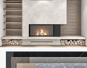 Fireplace and Firewood set 07 3D