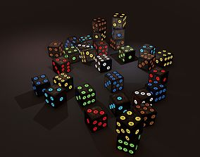 3D asset game-ready Multi-Colors Emissive Dice Package