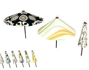 Parasol Umbrella Pack Rigged Animated Low Poly 3D asset 1
