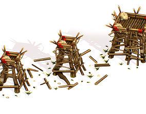 Handpaint Cartoon Wooden Building Bastion model 3D asset