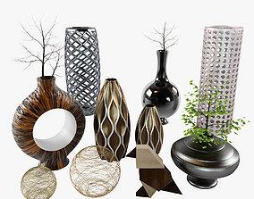 Decor set - cody bird vases branch 3D