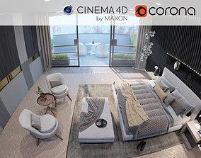 Corona - C4D Scene files - Luxury Bedroom 3D model 1