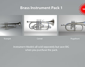 3D model Brass Instruments Pack 1 Trumpet Cornet and