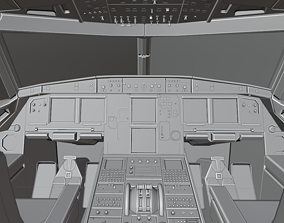Airbus A320neo cockpit NOT TEXTURED 3D asset