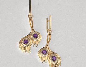 3D printable model Peacock earrings pendant lite-set