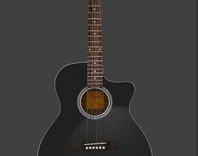 realtime Low-Poly black guitar 3D Model