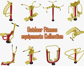 Outdoor Fitness equipments Collection model 3D