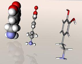 Dopamine molecule 3D model