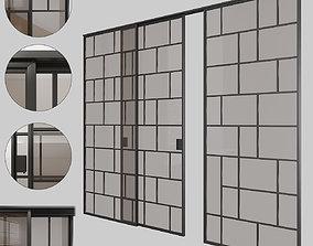 Glass sliding doors 001 3D