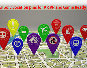 pins low-poly Location Pin or Icon 3D model low-poly