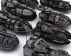 3D model Sci-Fi hover tanks