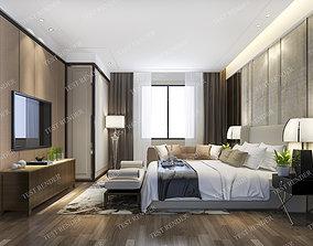 luxury modern bedroom suite in hotel interior 3D model
