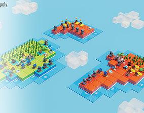 Tile island low poly castle 3D asset