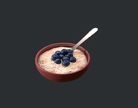 Porridge with Blueberries 3D asset game-ready