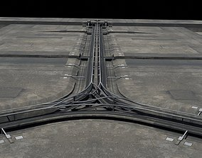 3D model game-ready Road segments with crosses