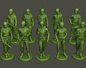 3D American soldiers ww2 Walk Stand PackA1