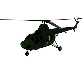 Lowpoly Mi 1 Hare Helicopter 3D Model game-ready