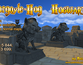 game-ready Hogwarts Stone Hog with small wings - 3
