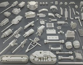 Tank Parts - 60 pieces - collection-5 3D asset