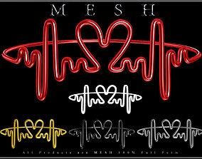 Love heart beat Ring 3D asset