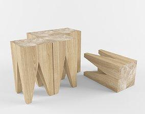 Wooden log coffe table 3D model