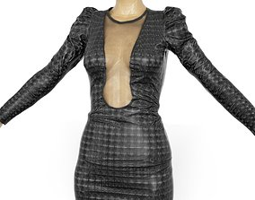 Dress Holographic Dots Black Shiny Clothing Women 3D asset