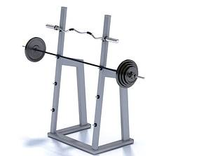 3D Squat Rack With Weights