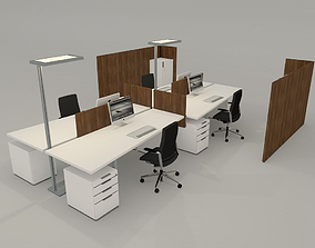 3D model office desk with accessories