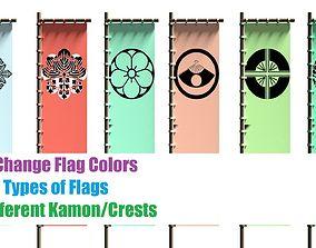 Japanese Battle Flags Pack 2 Styles over 400 3D asset 2