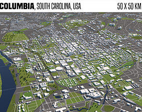 Columbia South Carolina USA 50x50km 3D