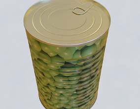pea 3D model canned food
