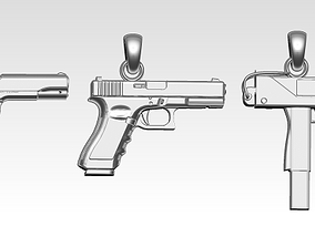 3D print model gunster Lot of 3 gun pendants necklace