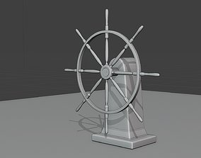 3D model sailboat rudder wheel historic