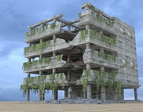 3D model DAMAGED BUILDING- POST APOCALYPSE